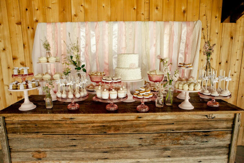 Vintage Pink & Shabby Chic Dessert Table | wedding decor | wedding dessert table | shabby chic wedding || Jenny Cookies #shabbychic #weddingdesserts #desserttable