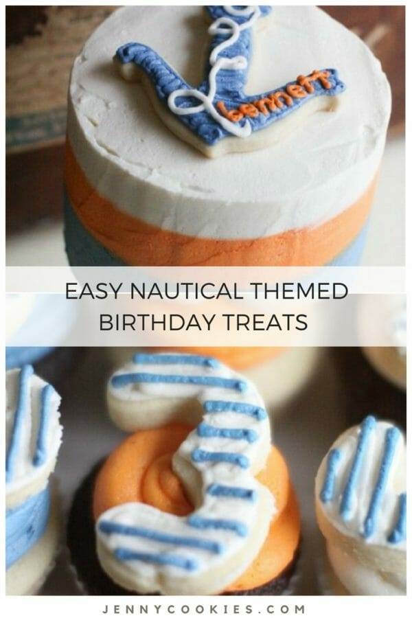 Colorful Nautical Birthday | nautical birthday theme | themed birthday parties for little boys | 3rd birthday party ideas | decorating for a nautical themed birthday party | themed party ideas | nautical birthday party decor | how to make anchor cookies | how to decorate for a nautical birthday party | boys birthday party ideas || JennyCookies.com