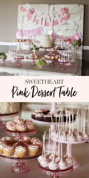 Sweetheart Pink Dessert Table | pink desserts | dessert table ideas | pink sweet treats | how to set up a dessert table || JennyCookies.com #desserttable #pinkdesserts #pinksweets #jennycookies