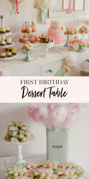 Simply Sweet & full of Pink | Finley's 1st Birthday | first birthday party ideas | girl first birthday party | 1st birthday party decor | first birthday cake | birthday treat table || JennyCookies.com #firstbirthday #kidsbirthdayparty #partyideas #desserttable #jennycookies