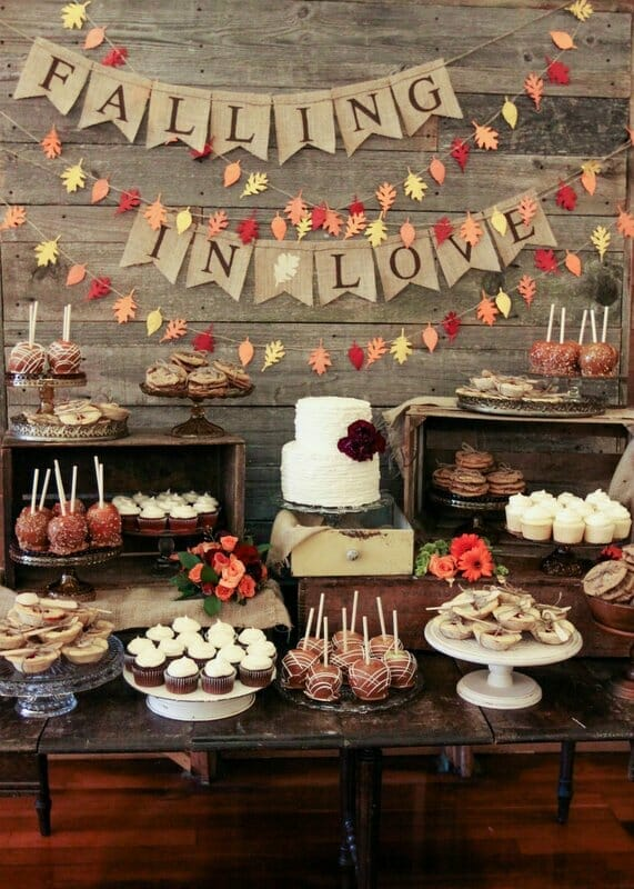Falling in Love Fall Dessert Table | fall dessert table ideas | fall dessert tables | fall dessert ideas | fall party ideas | ideas for a fall party | fall themed parties | fall themed dessert tables | how to decorate a fall dessert table || JennyCookies.com