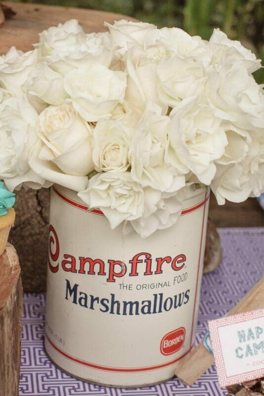 Camp Out Dessert Table | Camp themed party ideas | camping themed party | camping dessert ideas | camp themed desserts || JennyCookies.com #campingdesserts #campthemedparty #partyideas