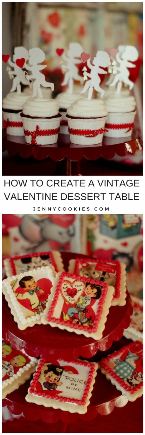 Be Mine | Vintage Valentine Dessert Table | Valentine's Day dessert table | valentine inspired dessert table | dessert table ideas | easy dessert tables | Valentine's Day desserts || JennyCookies.com #desserttable #valentinesdaydesserts #easydesserts