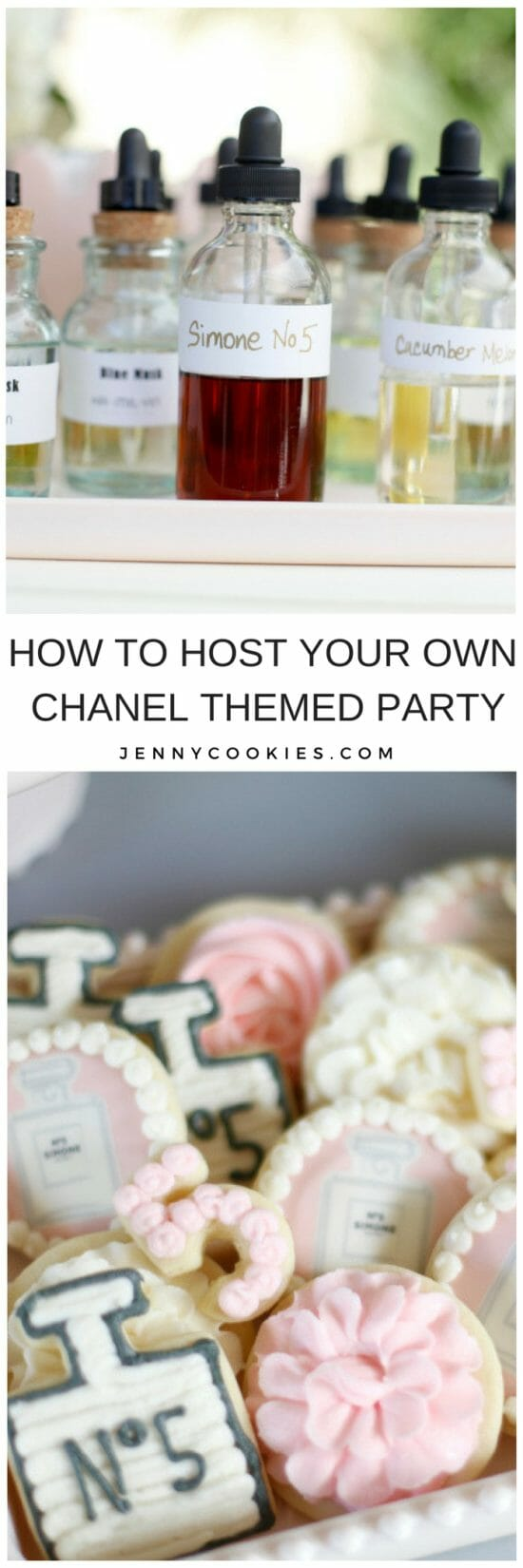 Chanel Inspired Birthday Party   chanel themed party   chanel party ideas   themed birthday party ideas   girl birthday parties   kids birthday parties   diy birthday party ideas    JennyCookies.com #chanel #chanelparty #themedparty #kidsbirthdayparty