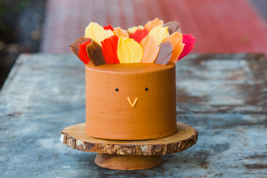 How to Make a Turkey Brushstroke Cake | thanksgiving dessert recipe | unique cake recipes | cake decorating tips | how to decorate a thanksgiving themed cake | thanksgiving cake ideas | fun cake recipes || JennyCookies.com #thanksgiving #turkeycraft #cakedecorating #funcakes