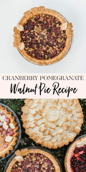Cranberry Pomegranate Walnut Pie Recipe | homemade pie recipes | holiday pie recipes | fruit pie recipes | how to make a homemade pie | easy pie recipes | pie recipe ideas || JennyCookies.com #recipe #pierecipe #pies #homemadepie #fruitpie #thanksgiving #thanksgivingpie #thanksgivingdesserts #dessertrecipe #jennycookies
