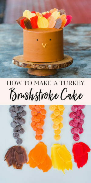 How to Make a Turkey Brushstroke Cake | thanksgiving dessert recipe | unique cake recipes | cake decorating tips | how to decorate a thanksgiving themed cake | thanksgiving cake ideas | fun cake recipes || JennyCookies.com #recipe #cake #holidaycake #turkey #thanksgiving #turkeycraft #cakedecorating #funcakes #jennycookies