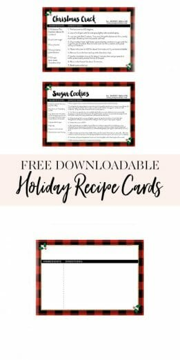 With two of my favorite holiday recipes, snag these printable holiday recipe cards. One is blank for your favorite holiday recipe and the others include my Christmas Crack and famous sugar cookies recipes! || JennyCookies.com #recipecards #printablerecipecards #recipecards #holidayrecipes